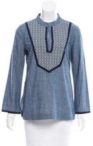 Tory Burch Long Sleeve Embroidered Top