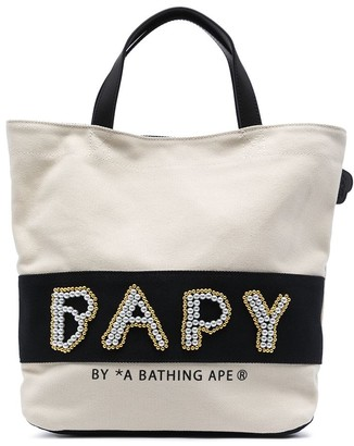 BAPY BY *A BATHING APE® Pearl-Logo Cotton Tote Bag