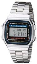 Casio Quartz Watch digital Display and Stainless Steel Strap A168WA-1W