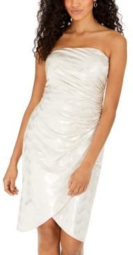 Bebe Juniors' Strapless Geo-Print Metallic Sheath Dress