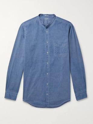 Massimo Alba Slim-Fit Grandad-Collar Watercolour-Dyed Herringbone Cotton Shirt