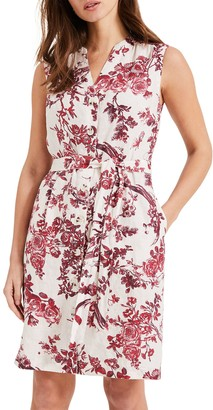 Phase Eight Toile De Jouy Dress, Red/Ivory