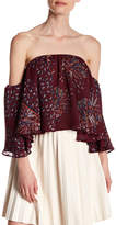 Romeo & Juliet Couture 3/4 Length Sleeve Off-the-Shoulder Printed Woven Shirt