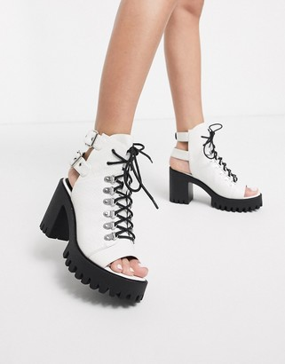 Public Desire Rockin chunky lace up festival heeled shoe in white