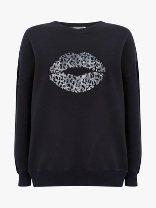Mint Velvet Sequin Lips Sweatshirt