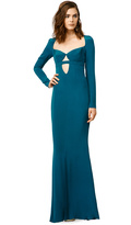 uncategorized  Who made Padma Lakshms blue cut out long sleeve dress that she wore in New York?