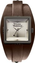 Vivienne Westwood Women's VV008GNBR Stainless Steel Cube Gun Watch With Brown Leather Band
