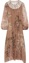 Zimmermann Tropicale Lattice-paneled Printed Silk-chiffon Dress - Sand