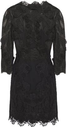 Dolce & Gabbana Open-back Floral-appliqued Chiffon-paneled Lace Mini Dress