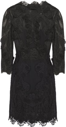 Dolce & Gabbana Open-back Guipure Lace And Chiffon Mini Dress
