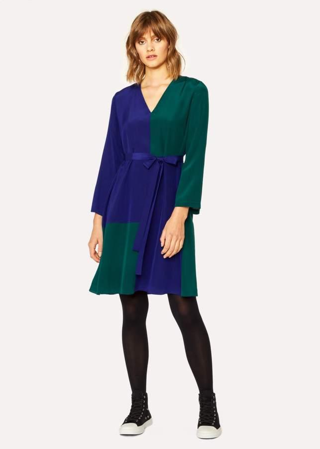 Women's V-Neck Cobalt Blue And Green Colour Block Dress