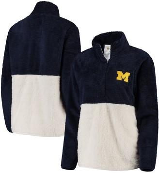 Women's Navy/Cream Michigan Wolverines Fuzzy Fleece Colorblocked Four-Snap Pullover Jacket