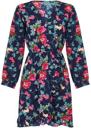 Yumi Floral Print Frill Wrap Dress