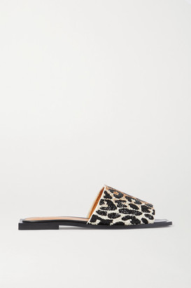 Ganni Beaded Canvas Slides - Leopard print