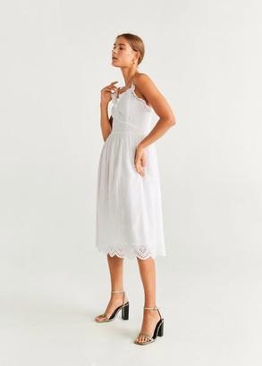 MANGO Embroidered cotton dress white - 2 - Women