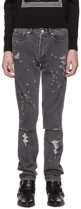 Givenchy Grey Destroyed Slim-Fit Jeans