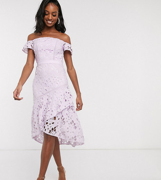 Chi Chi London Tall bardot lace midi dress with flippy hem in lilac