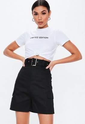 Missguided Black Square Belt Long Cargo Shorts