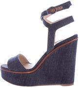 Paul Andrew Denim Wedge Sandals