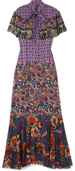 Anna Sui Printed Silk Crepe De Chine And Georgette Maxi Dress - Purple