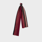Paul Smith Men's Red Varied Stripe Wool-Silk Scarf