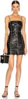 Ganni Lamb Leather Dress in Black   FWRD