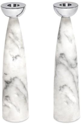 Anna New York Coluna 2-Piece Carrara Marble & Steel Candlestick Set