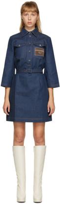 Gucci Blue Denim Patch Mini Dress