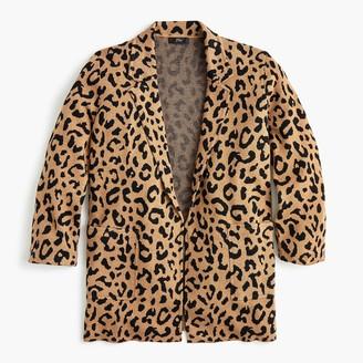 J.Crew Sophie open-front sweater-blazer in leopard