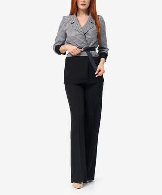 LADA LUCCI Women's Blazers Black - Black & White Houndstooth Belted Blazer & Black Trouser Pants - Women & Plus