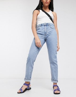 Weekday Seattle organic cotton high waist tapered jeans in pen blue