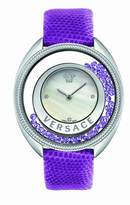 Versace Women's 86Q953MD497 S702 Destiny Spirit Stainless Steel Case Floating Spheres in Glass Bezel Mother of Pearl Dial Purple Lizard Leather Diamond Watch