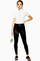 Topshop Womens Petite Black Faux Leather Skinny Trousers - Black