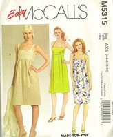 """Mccall's McCall""""s 5315 Misses Lined Dress, Below Mid-knee Length, Shoulder Straps Sewing Pattern Size 4-6-8-10-12"""