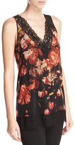 Fuzzi Lace-Trimmed Floral V-Neck Shell, Red/Black