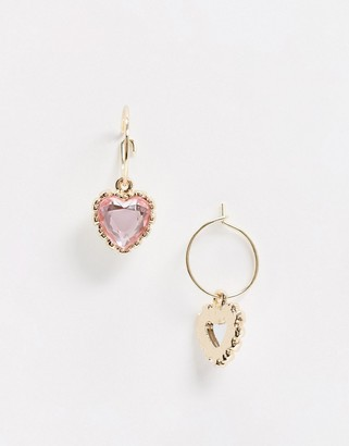 ASOS DESIGN hoop earrings with pink heart jewel charm in gold tone