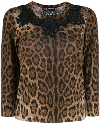 Dolce & Gabbana Leopard Print Lace Detailed Top