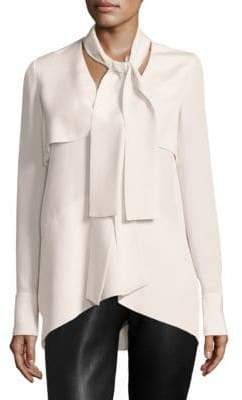 Derek Lam Long-Sleeve Tie-Neck Silk Blouse
