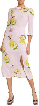 Cynthia Rowley Elena Floral Print 3/4-Sleeve Midi Dress