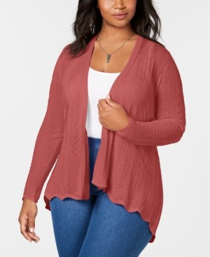 Belldini Plus Size High-Low Open-Front Cardigan