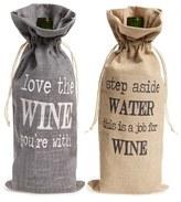 Levtex Printed Burlap Wine Bags - Grey