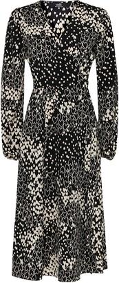 Wallis Black Heart Print Midi Wrap Dress