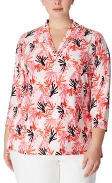 Anne Klein Plus Size Printed Pleat-Neck 3/4-Sleeve Top