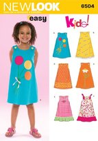New Look 6504 Size A Child Dresses Sewing Pattern, Multi-Colour
