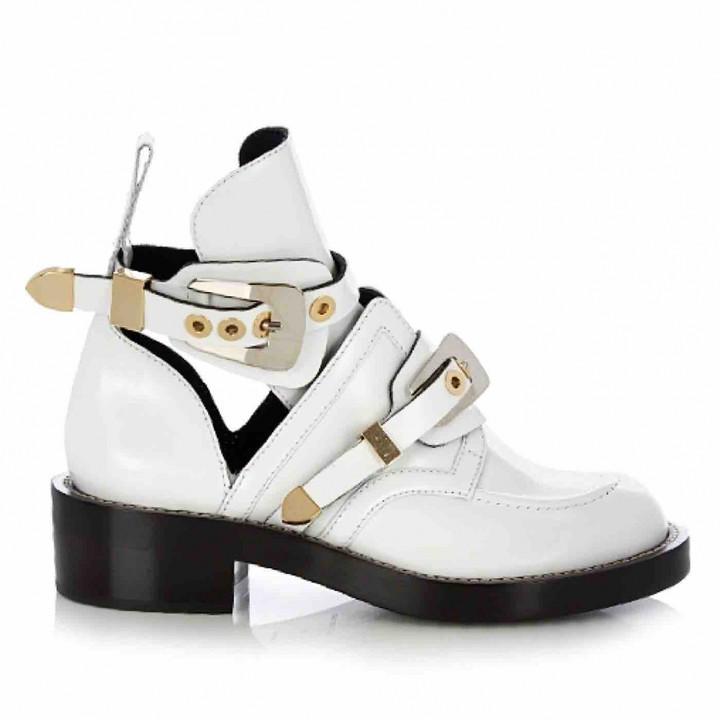 Balenciaga Ceinture White Leather Ankle