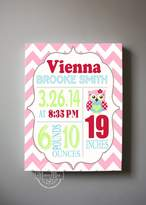 MuralMax Personalized Stretched Canvas Birth Announcement Gift, Custom Baby Name, Date, Weight Stats, Newborn Nursery Owl Wall Art Decor, High Quality 100% Wooden Frame Construction, Ready To Hang 10X12