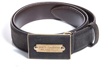 Dolce & Gabbana Suede plaque buckle belt