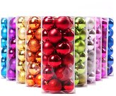 Yoland 24ct Barrel Plating Multicolor Christmas Ball Ornaments (40mm/1.57'' in) (Red)