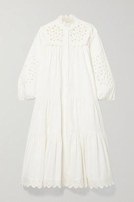 Sea Hazel Broderie Anglaise Cotton-poplin Midi Dress - White