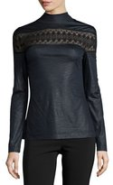Yigal Azrouel Long-Sleeve Lace-Inset Top, Jet/Multi